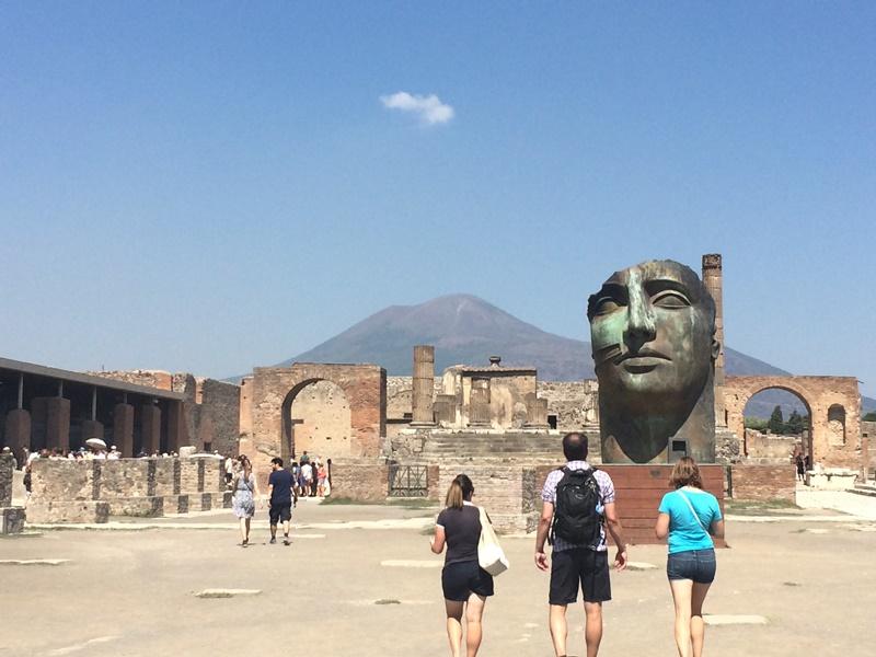 Blick auf Vesuv von Pompeji
