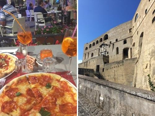 Pizza und Castell Sant'Elmo Neapel