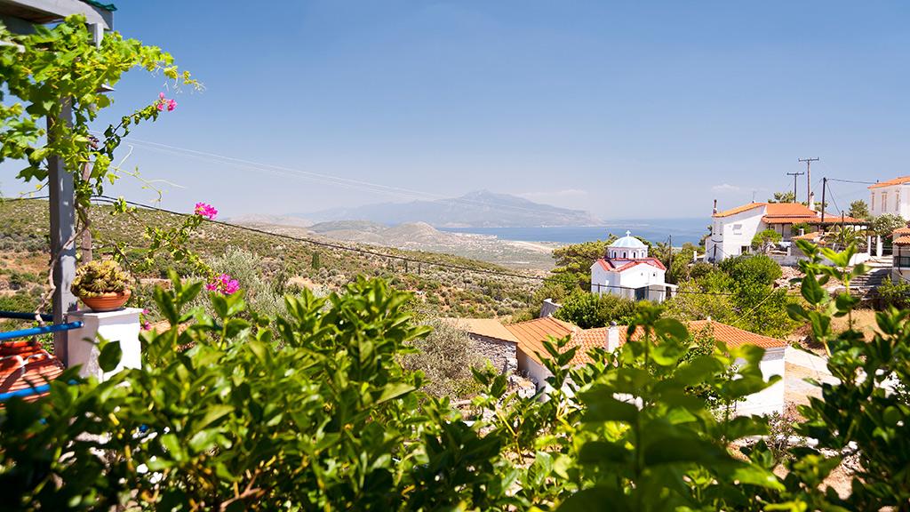 Blick auf grüne Landschaften von Samos, weiße Häuser