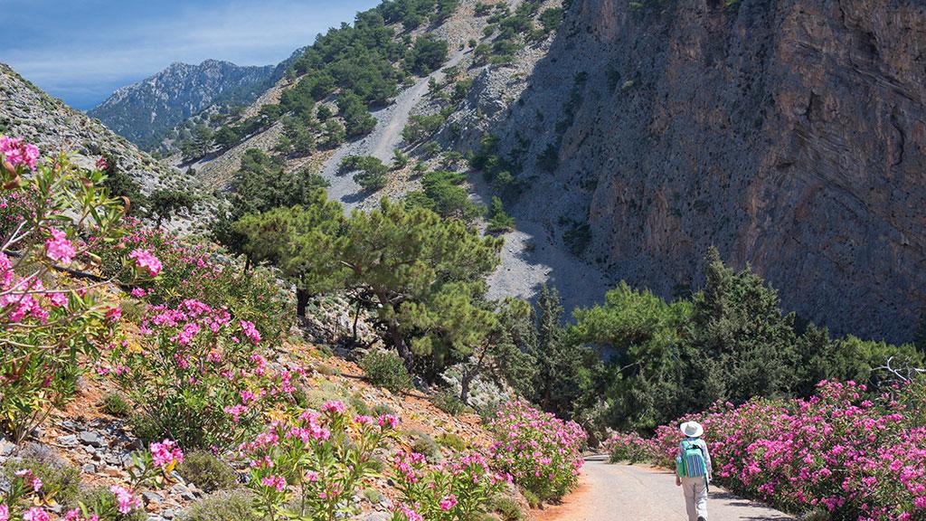 Wanderer läuft auf Wanderweg in Samaria Schlucht auf Kreta