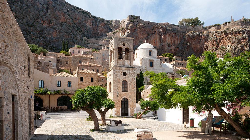 Blick auf Altstadt von Monemvasia, Peloponnes, Griechenland Guide