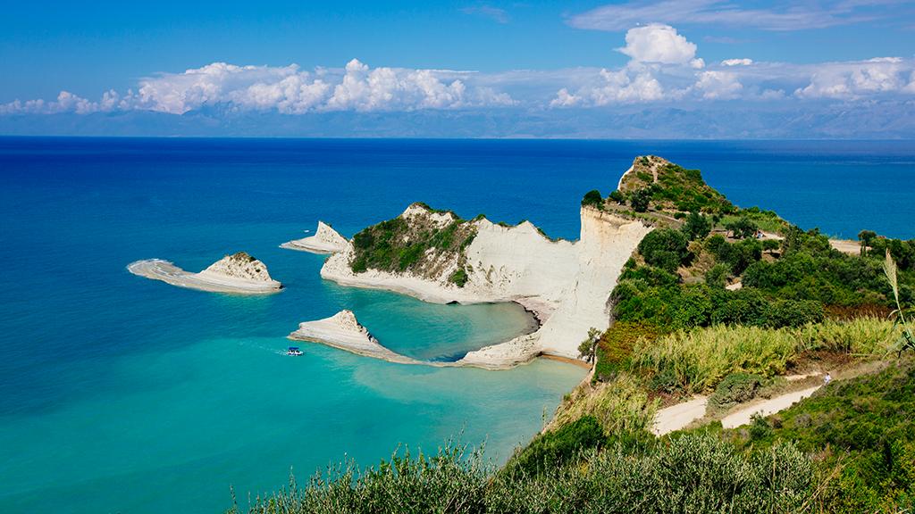 Blick auf Kap Drastis in Korfu, Griechenland Guide
