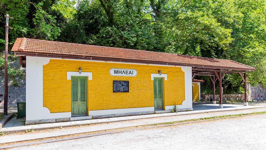 Kleines, altes Bahnhofsgebäude in Milies, Pilion