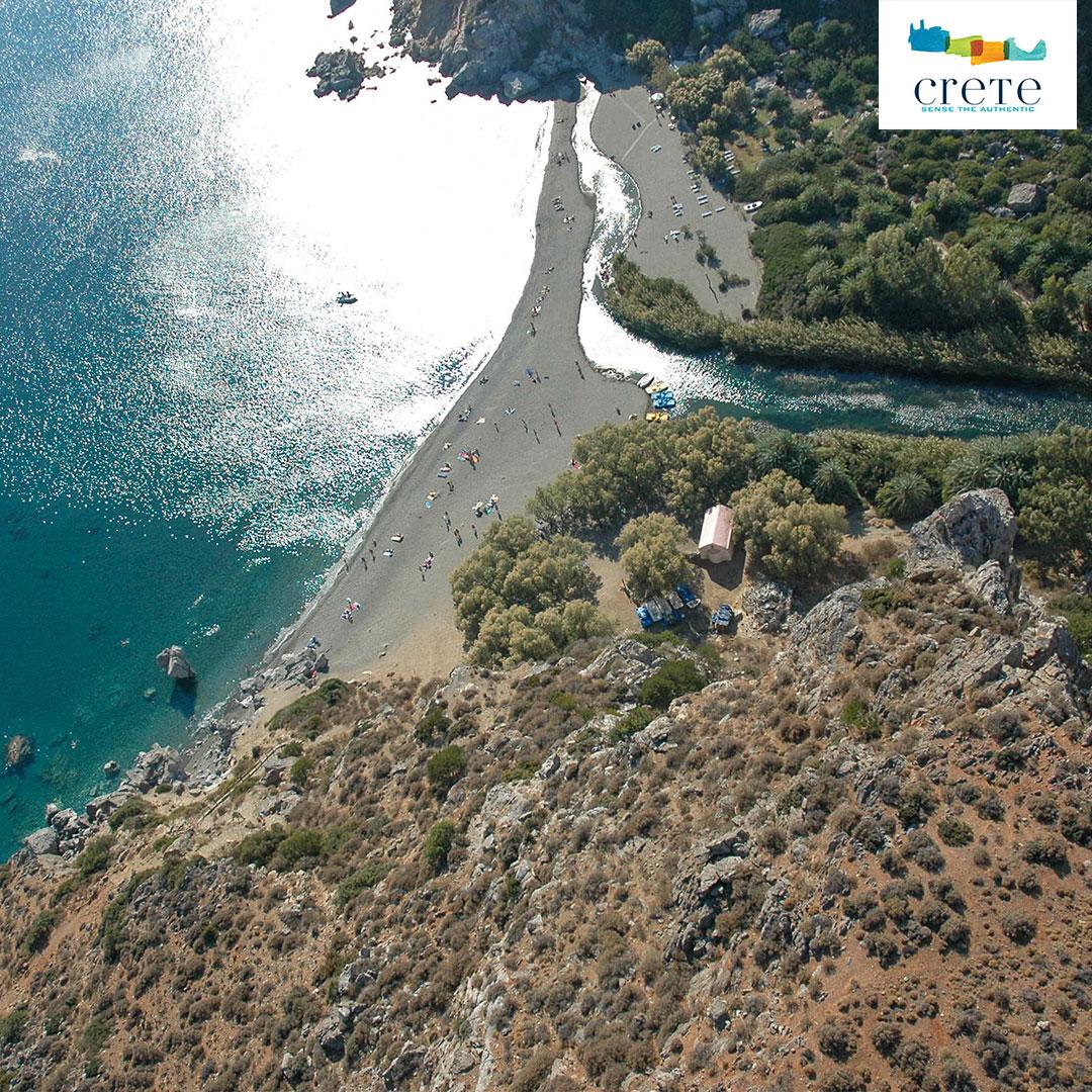 Luftaufnahme Preveli Strand mit Fluss Mega Potamos