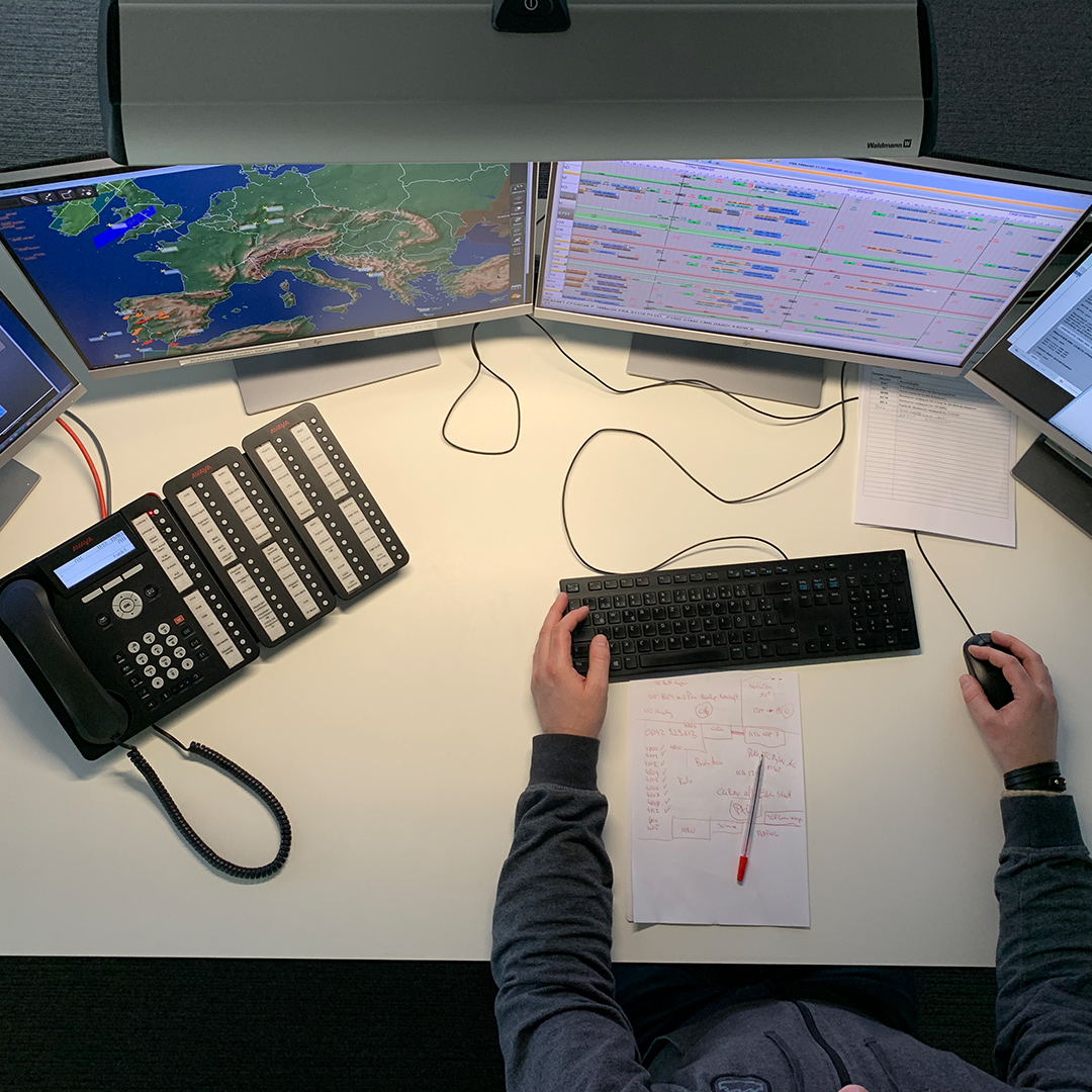 Blick auf Arbeitsplatz im Central Control Center