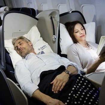 Passengers sleeping in Business Class